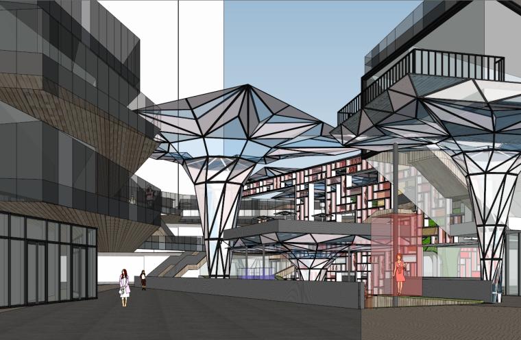 沿街商铺广场规划建筑设计SU模型设计