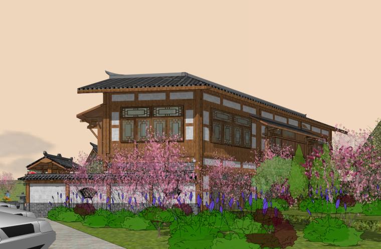 中式禅意民宿SU模型设计