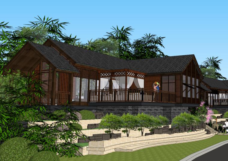 某生态小区规划设计资料下载-中式度假村生态旅店客栈SU模型设计