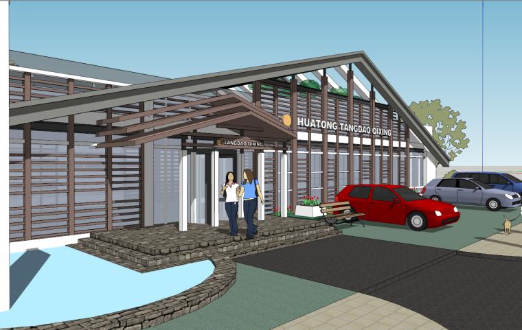 古典售楼处建筑规划设计SU模型