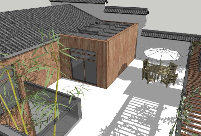 徽派中式茶楼建筑SU模型设计
