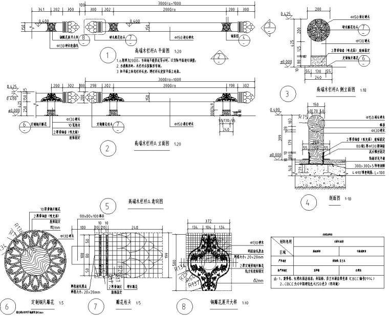 高端景观栏杆标准化设计施工图 (1)