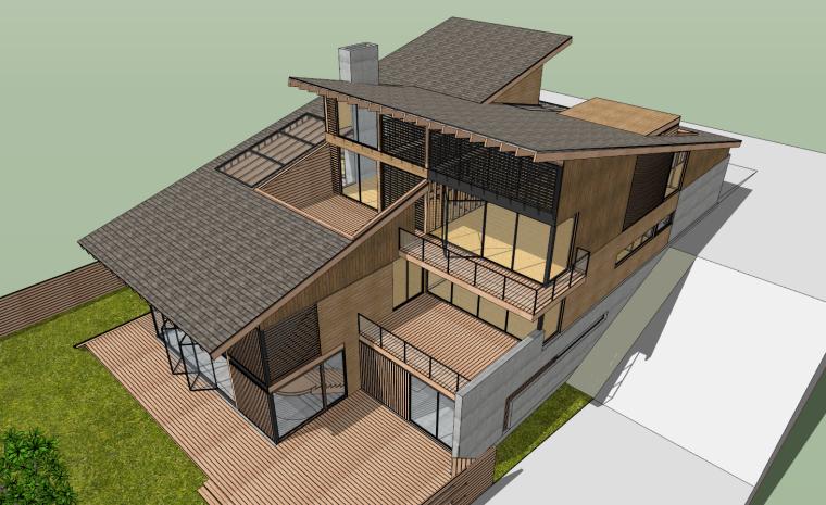 现代住宅家居空间斜面木结构建筑设计SU模型
