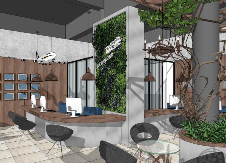 藤蔓绿色工业风生态LOFT旅行社SU模型设计