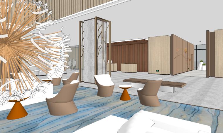 现代简约冷淡风酒店大堂设计SU模型