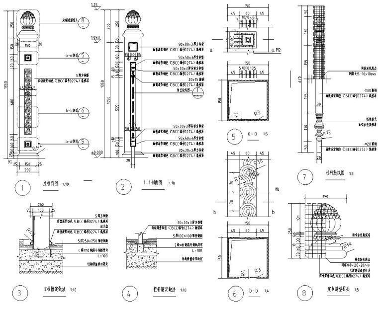 高端景观栏杆标准化设计施工图 (6)