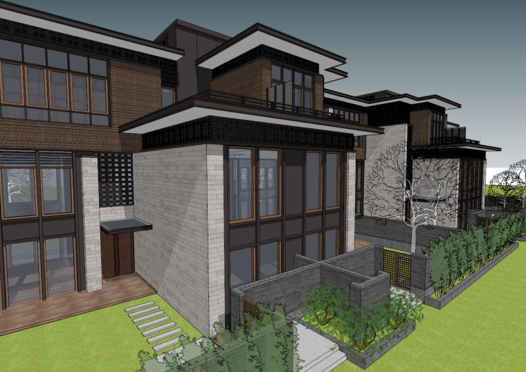 新中式联排别墅建筑庭院现代家居住宅空间SU