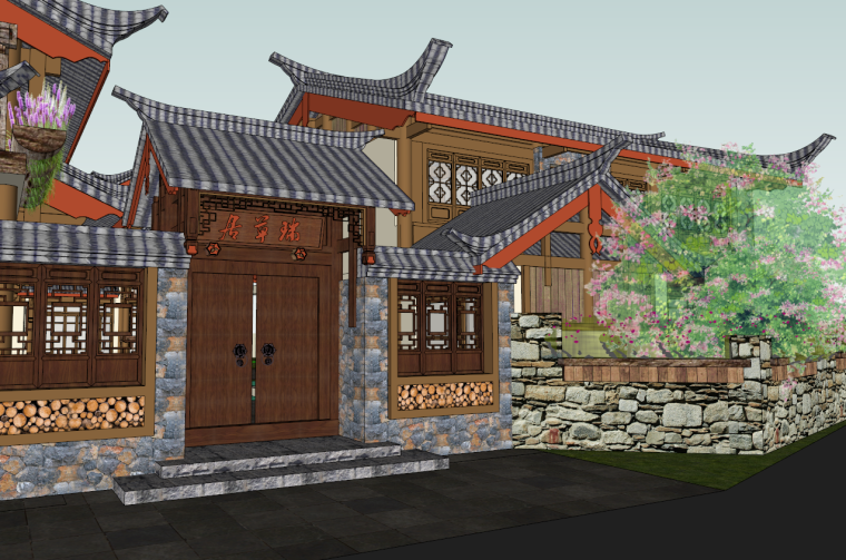 某生态小区规划设计资料下载-中式客栈禅意生态度假山庄SU模型设计