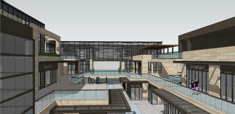 现代风格商业街建筑模型设计