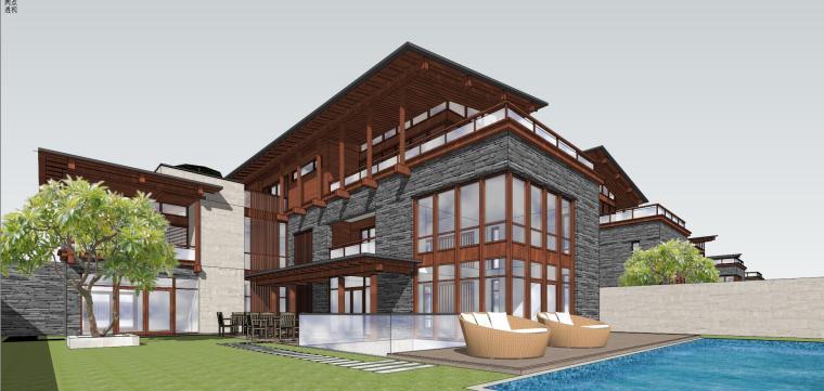 [广东]现代中式酒店别墅建筑模型设计