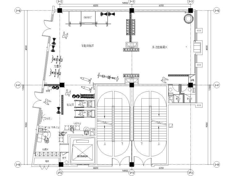 ME+梦想健身私教工作室装修施工图+实景图