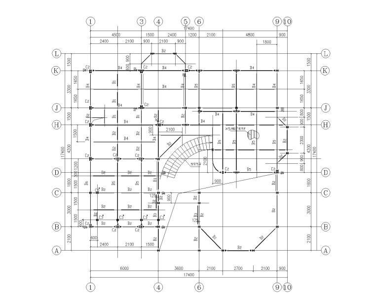某三层钢结构别墅施工图(CAD)-结构平面图