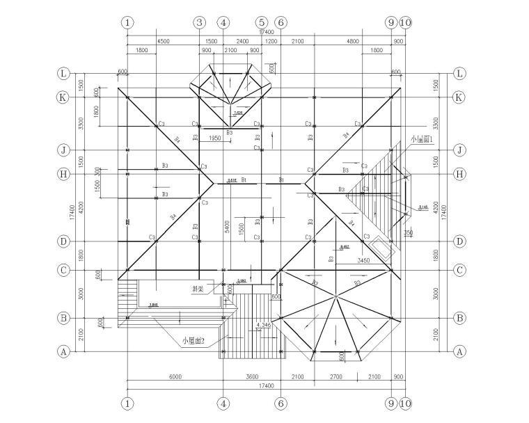某三层钢结构别墅施工图(CAD)-屋顶结构平面图