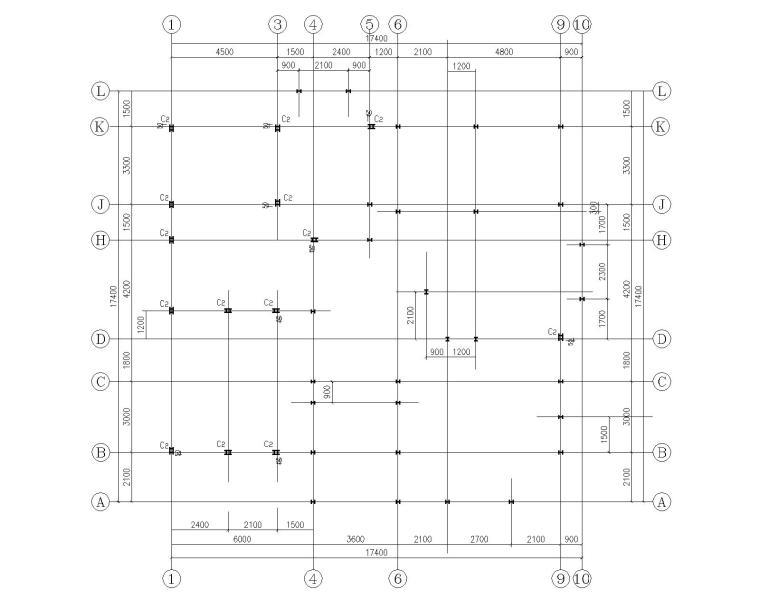 某三层钢结构别墅施工图(CAD)-结构柱布置图