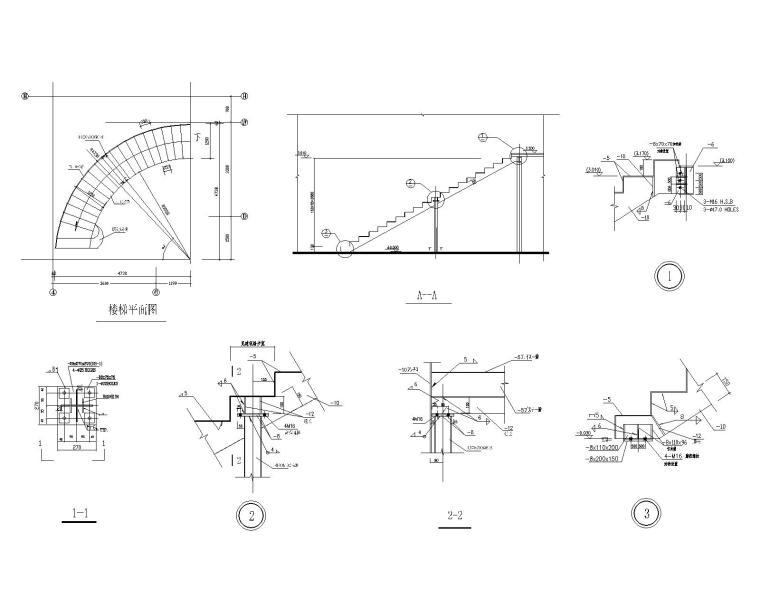 某三层钢结构别墅施工图(CAD)-楼梯布置图