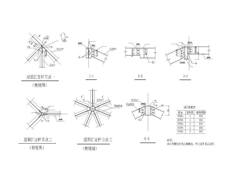 某三层钢结构别墅施工图(CAD)-节点大样图