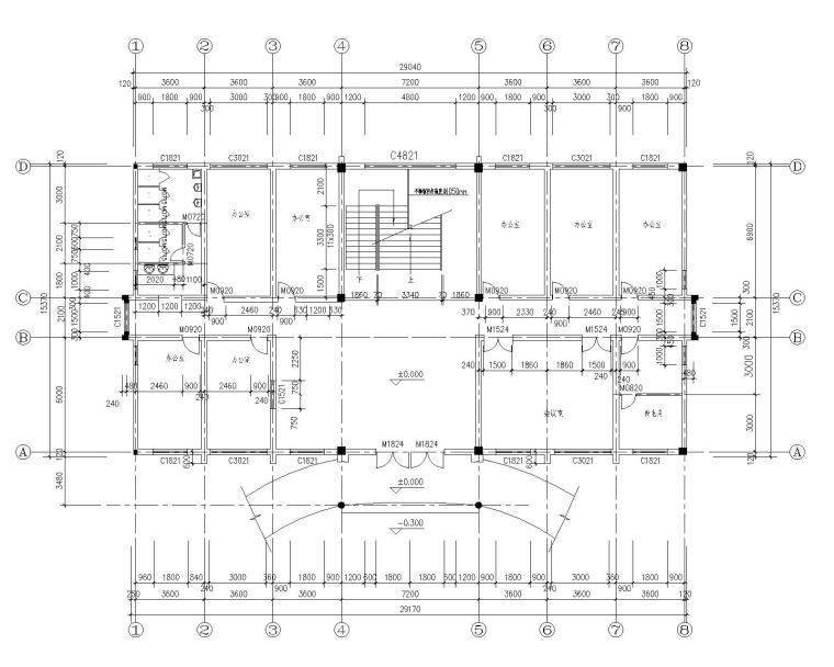 四层办公楼混凝土结构施工图(CAD含建筑)