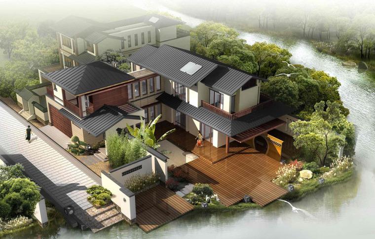中式风格别墅建筑外观设计案例效果图