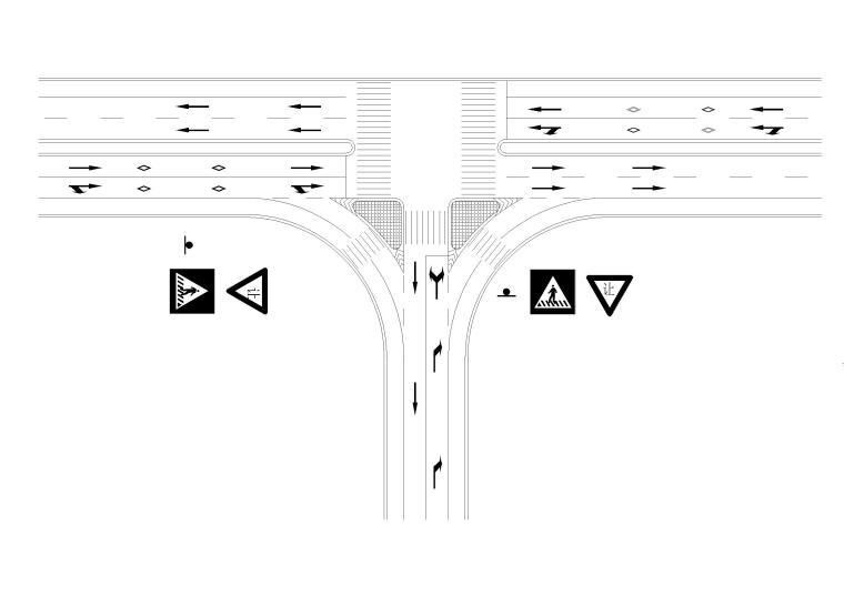 T形交叉口导流线设置示例