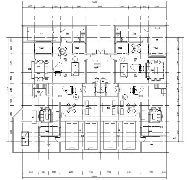 大面宽洋房户型平面图设计