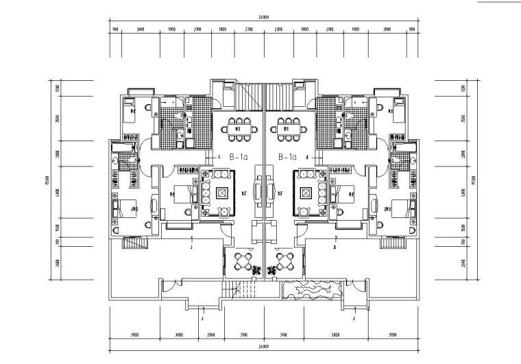 1梯2户洋房户型平面图设计