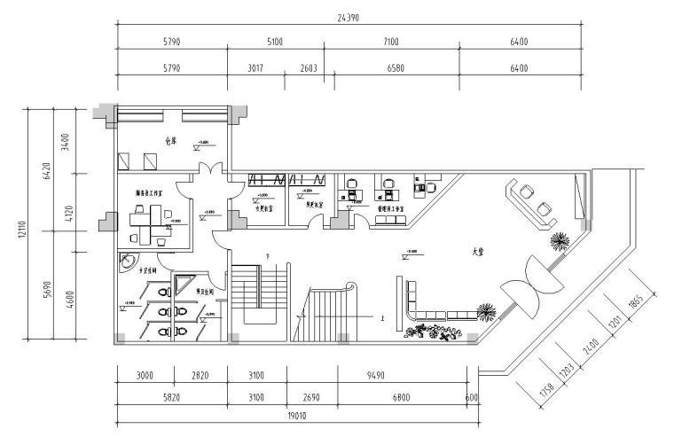 二层中式风格茶艺馆会所装修施工图