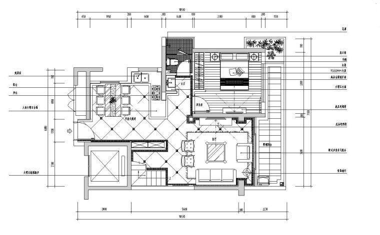 欧式风格复式别墅住宅施工图设计