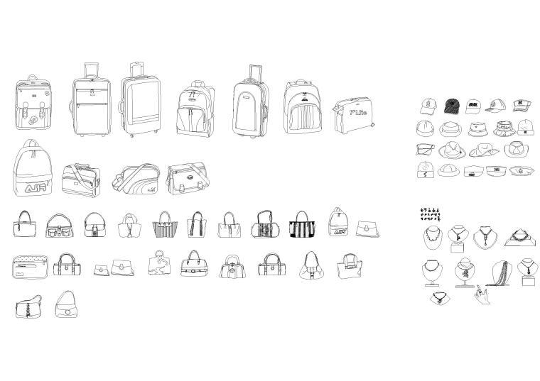 服装鞋包,电讯设备,家具灯具等工装图块