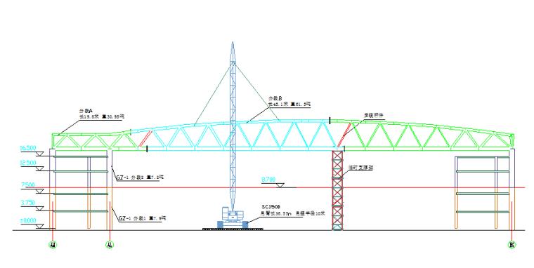常设展区大跨度桁架吊装示意图