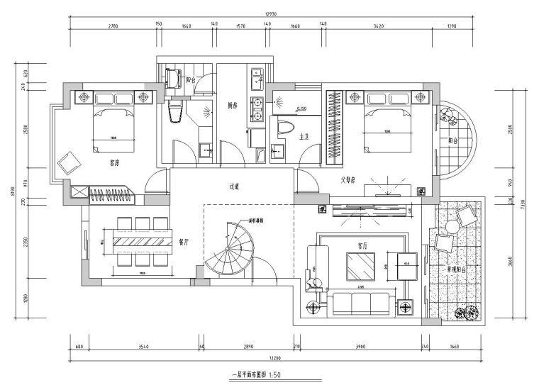现代风格复式住宅室内施工图设计