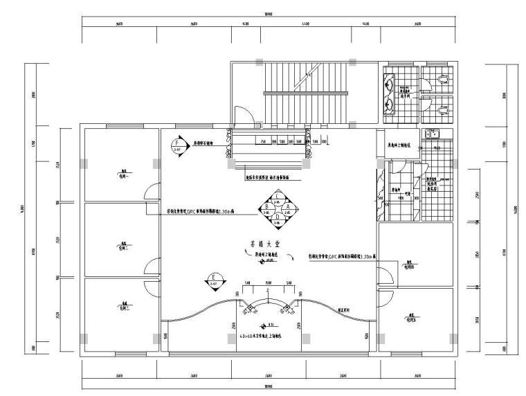 两层现代风格茶楼设计装修施工图设计