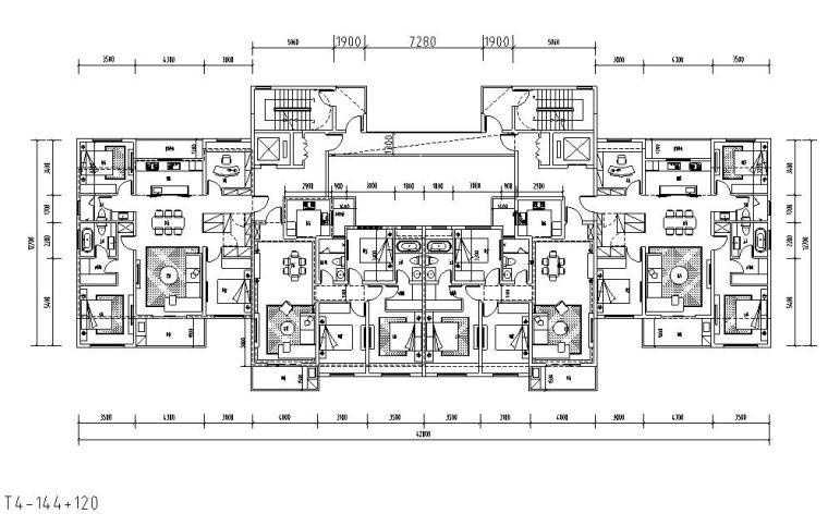 二梯四户户型平面图设计