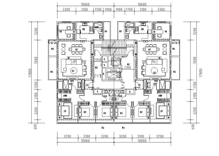 T2-175+175户型平面图