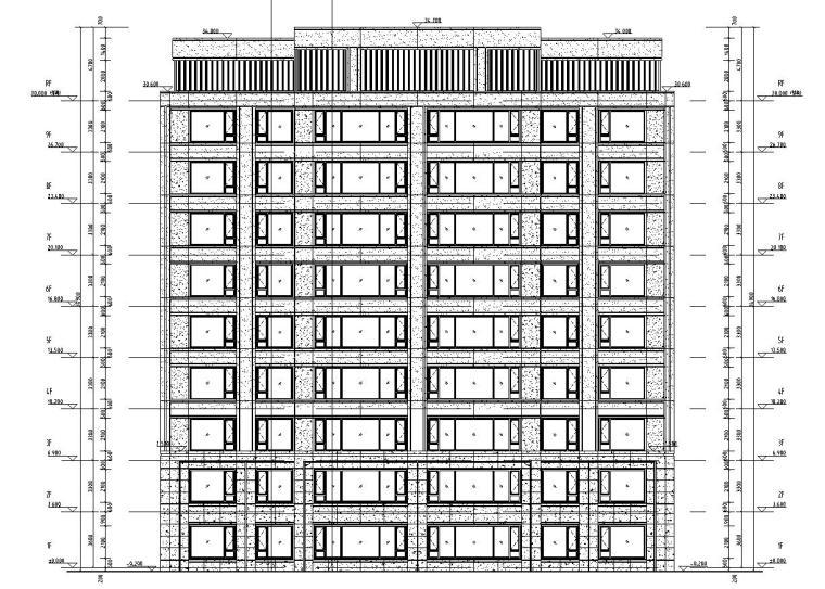 多层住宅一梯二户户型平面设计-立面图