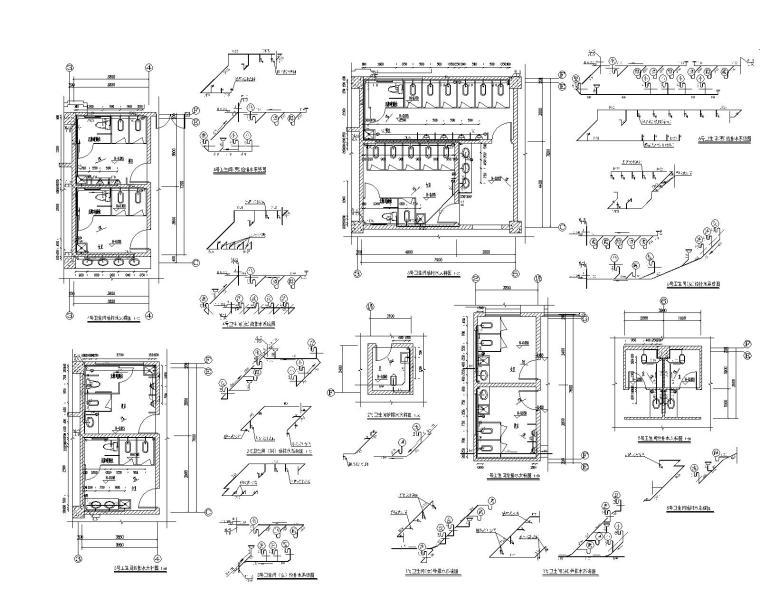 贵州省某大型办公楼机电设计施工图_200张-卫生间给排水大样图