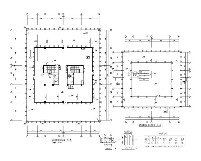 贵州省某大型办公楼机电设计施工图_200张-屋顶层给排水平面图