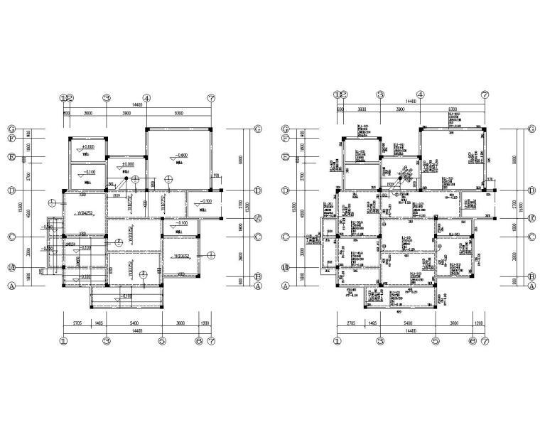 三层别墅混凝土框架结构施工图(CAD)