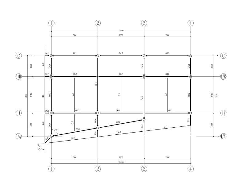 某二层别墅钢结构框架施工图(CAD)