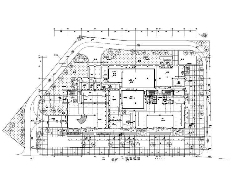 贵州省某大型办公楼机电设计施工图_200张-一层自喷淋平面图