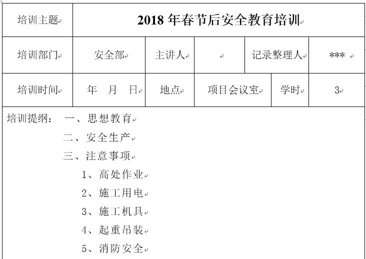 春节后复工安全教育培训内容记录(2018年)