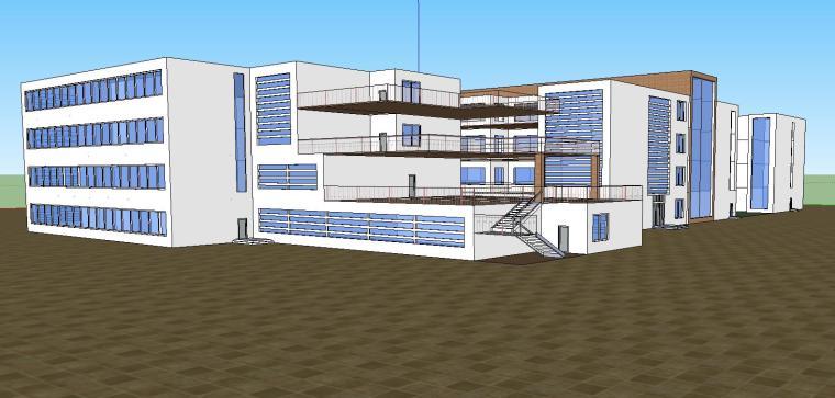 现代简约医院疾病门诊楼建筑设计模型