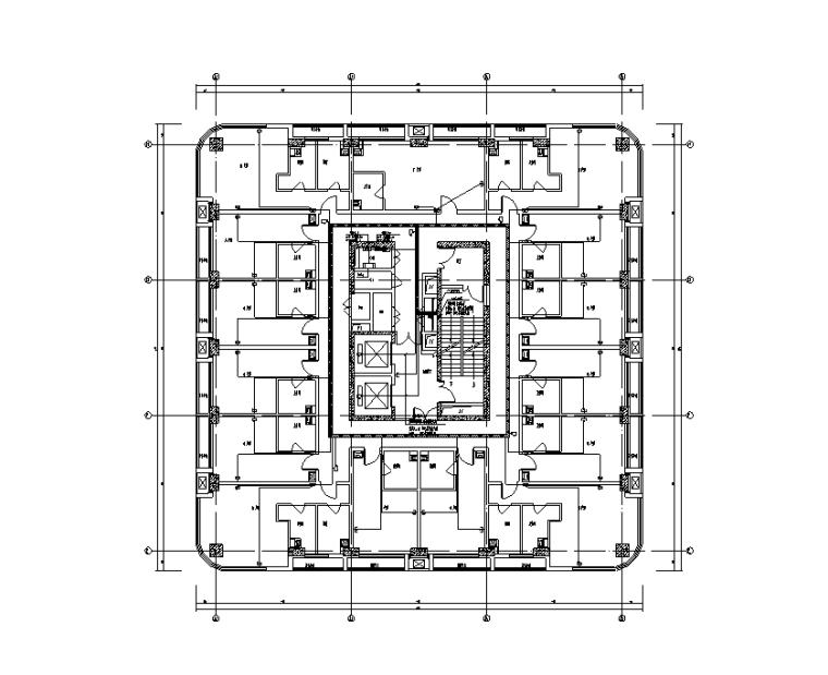 商务公寓A、B 四~十五层弱电平面图