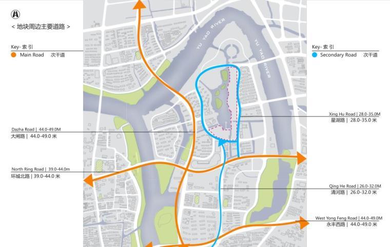 浙江现代风格综合城市规划建筑方案文本-地块周边主要道路