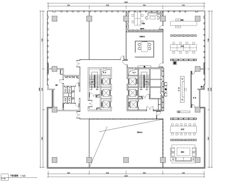 中式风格办公空间装饰施工图设计+效果图