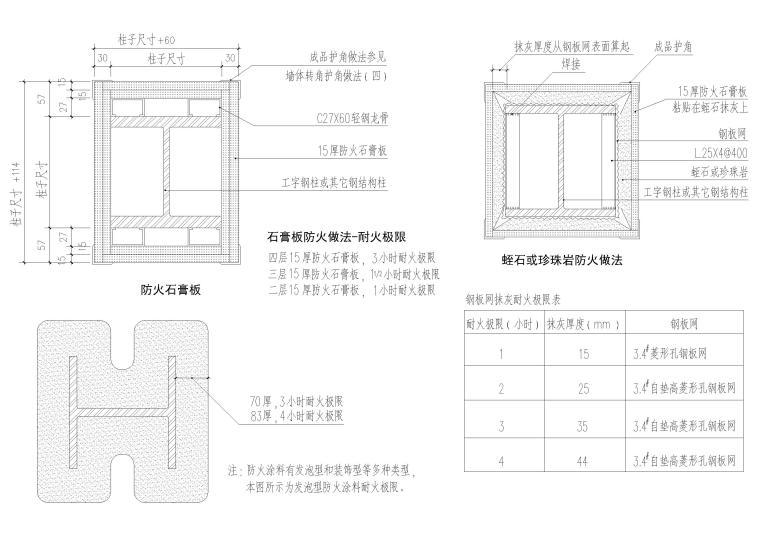 包柱,柱式节点详图(CAD)