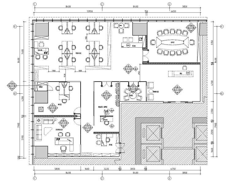 美乐辰现代风格办公空间户型样板间施工图