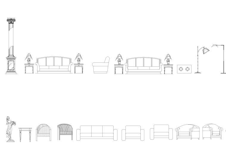 欧式壁炉,家具,灯具等CAD图块