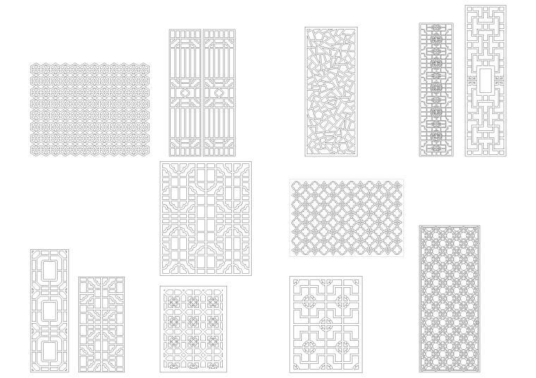 中式镂空雕花CAD图库