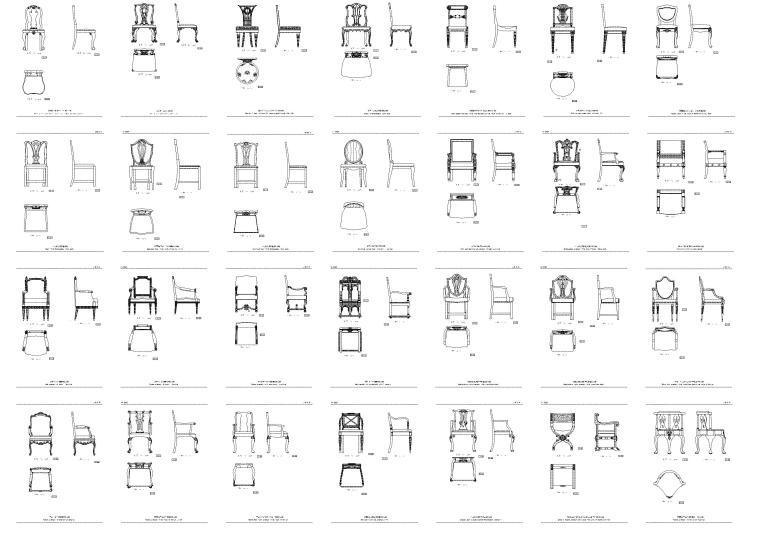 欧式古典家具(带名字)CAD图库