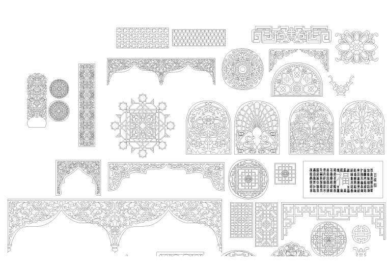 中式室内雕花CAD图库